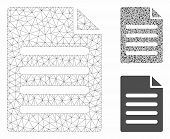 Mesh Text Page Model With Triangle Mosaic Icon. Wire Carcass Triangular Mesh Of Text Page. Vector Mo poster