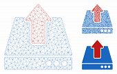 Mesh Upload Model With Triangle Mosaic Icon. Wire Carcass Polygonal Mesh Of Upload. Vector Mosaic Of poster