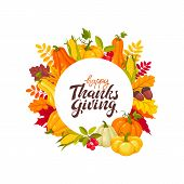 Happy Thanksgiving Banner With Bright Colorful Pumkin, Apples And Leaves. Autumn Vegetables Vector I poster