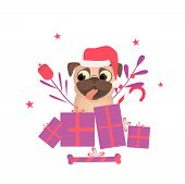 Happy Pet Dog Pug With Christmas Presents Dress Up Santa Hat. Decoration And Christmas Presents For  poster