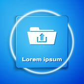 White Folder Upload Icon Isolated On Blue Background. Blue Square Button. Vector Illustration poster
