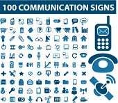 stock photo of mobile-phone  - 100 communication signs - JPG