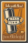 Beer Festival, Oktoberfest Brewery Fest, Beer Pub. Vector Traditional Oktoberfest Holiday Beerhouse  poster