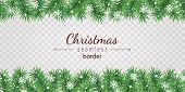Christmas Tree Seamless Border On Transparent Background - Garland From Green Spruce Branches And Wh poster