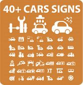 cars icons, signs, vector