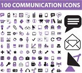 100 communication icons, signs, vector