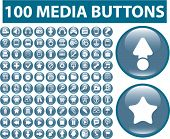 100 media buttons, icons, signs, vector set