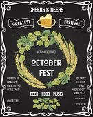 October Fest Beer Festival. Cheers And Beers Invitation With Hop, Wheat And Glasses Of Beer On Chalk poster