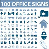 100 Office-Symbole, Zeichen, vector Illustrationen set
