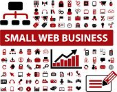 100 small web business icons, signs, vector illustrations