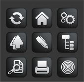 web office & business square black web buttons, icons, signs set, vector
