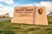 Entrance welcome sign to Scotts Bluff National Monument in Scottsbliuff, Nebraska. poster