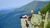 Hiking Peaceful Moment. Enjoy The View. Tourist Hiker Girl Relaxing Edge Cliff. Dangerous Relax. Ext poster