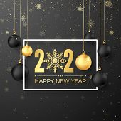 Christmas Decoration Elements. Greeting Golden Numbers 2020 And Text Happy New Year On Dark Backgrou poster