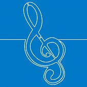 Continuous One Single Line Drawing Treble Clef Icon Vector Illustration Concept poster