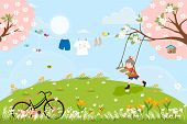 Cute Cartoon Spring Landscape With Vintage Bike And Little Boy Playing Swing Under The Tree, Vector  poster