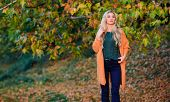 Comfortable Outfit. Girl Adorable Blonde Posing In Warm And Cozy Outfit Autumn Nature Background Def poster