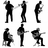 Silhouettes Street Musicians Playing Instruments On A White Background poster