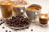 stock photo of coffee crop  - group selection of different Italian coffee type - JPG