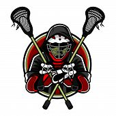 stock photo of lax  - Illustration of lacrosse players was crossed lacrosse sticks and hands in the chest by wearing helmets and hoods - JPG