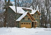 stock photo of house woods  - New house in a rural area in winter - JPG