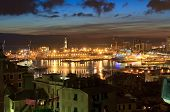 stock photo of genova  - overview of thev ancient port in genova at evening Liguria Italy - JPG