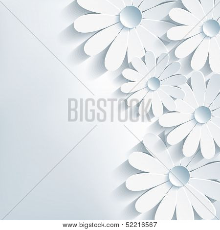 Stylish Creative Abstract Background, 3D Flower Chamomile poster