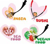 Set Of Food Icons In Hearts Shapes: Japanese Cuisine - Sushi, Italian - Pasta, Sea And Vegan Food.