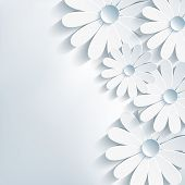 stock photo of labelling  - Stylish creative modern abstract background 3d flower chamomile - JPG