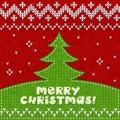 pic of applique  - Green knitted Christmas tree applique vector background - JPG