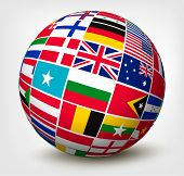 stock photo of longitude  - Flags of the world in globe - JPG
