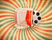 stock photo of popcorn  - Retro background with Popcorn and a drink - JPG