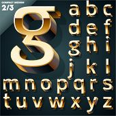 Vector illustration of golden 3D alphabet. Compact Medium style. Set 2