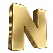Letter N from gold solid alphabet