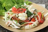 Thai Style Salad Seafood Shrimp And Squid