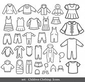 stock photo of jeans skirt  - Set of Children clothing - JPG