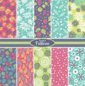 stock photo of tile  - Collection of 10 floral colorful seamless pattern background - JPG
