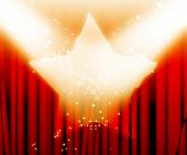 stock photo of curtain  - red movie or theater curtains with a bright spotlight on it - JPG