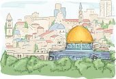 image of tourist-spot  - Illustration Featuring a Panoramic View of the Dome of the Rock in Jerusalem - JPG