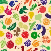 stock photo of olive shaped  - vector seamless background with fruits and vegetables - JPG