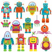 stock photo of monsters  - Vector Collection of Colorful Retro Robots or Aliens - JPG