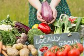 foto of stall  - Female hands holding an aubergine above table of vegetables - JPG