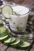 image of buttermilk  - Greek yogurt with cucumber and dill close - JPG