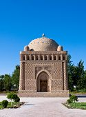 stock photo of mausoleum  - The Samanid mausoleum is located in the historical urban nucleus of the city of Bukhara - JPG