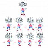 Animation of Zombie walking. Eight walking frames + 1 static pose. Vector cartoon isolated character