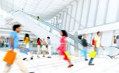 image of mall  - Motion Blurred People in the Shopping Mall - JPG