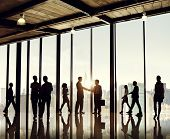 stock photo of commutator  - Group of Business People in Office Building - JPG