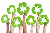 pic of fuel efficiency  - Diversity of Hands Holding Green Recycling Symbol - JPG