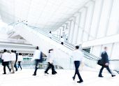 stock photo of commutator  - Business People Rushing in Office Building - JPG