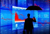Financial Debt Protection: Businessman with Umbrella
